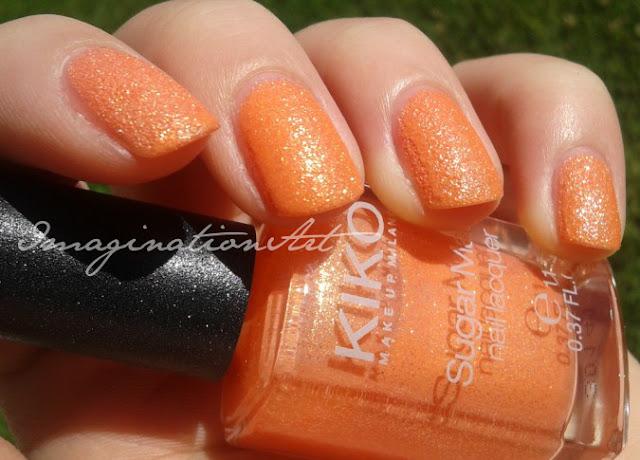 kiko sugar matt golden mandarin 639 effetto sabbiato swatches swatch review recensione polish nail lacquer smalto unghie