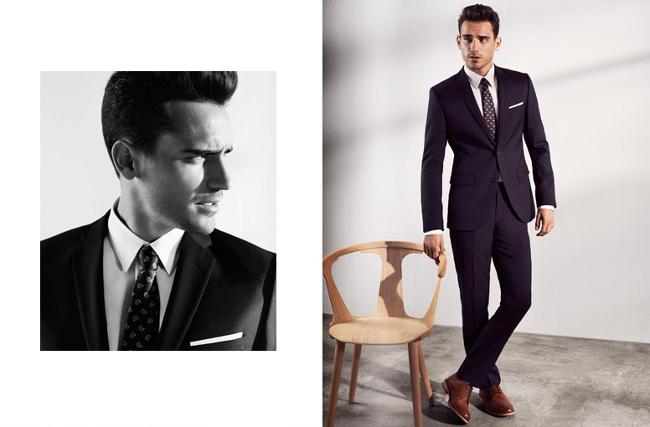 traje clásico azul marino H&M