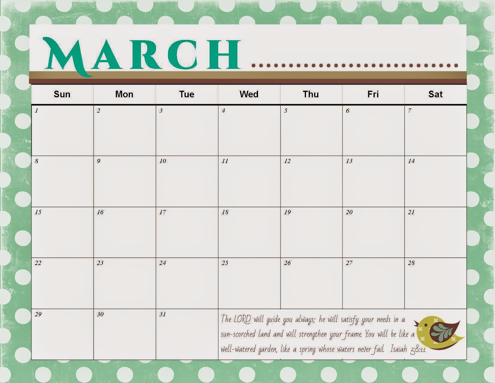 The Blogging Pastors Wife: Printable March Calendar 2015