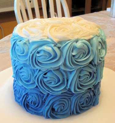 Blue Ombre Rose Cake 1