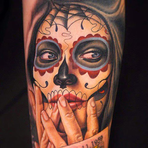 59 tatuagens de catrina mais tattoo - Santa muerte tatouage signification ...