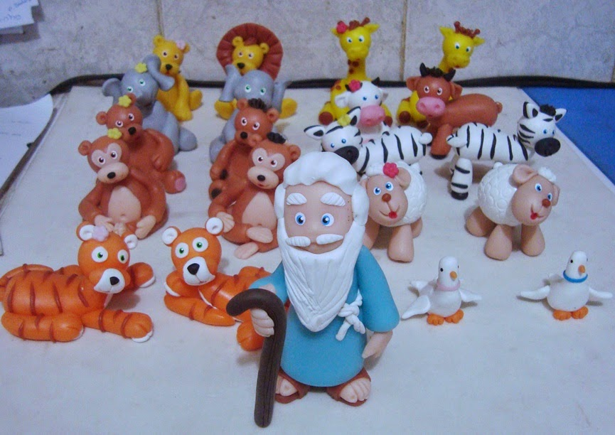 animais da arca de biscuit