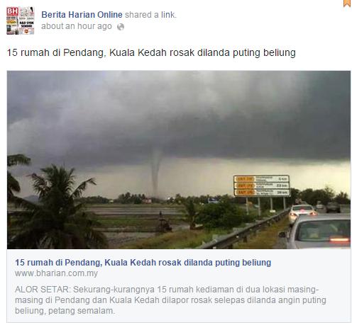 Puting beliung di Kuala Kedah