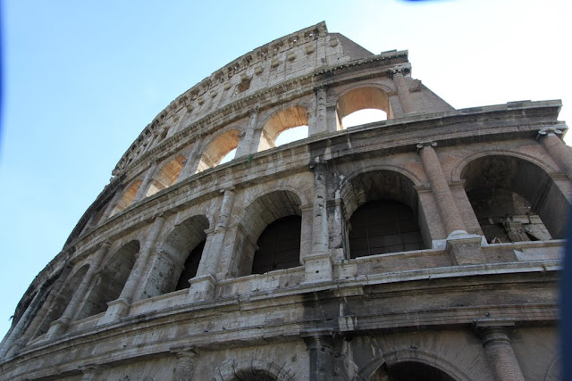 Top structure design of the Roman Colosseum in Rome, Italy
