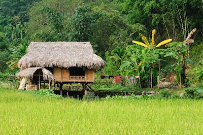 Aldea rural con casa de campo en Vietnam - Gente pobre