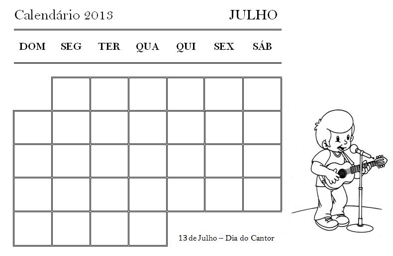 Calendário 2013 - JULHO