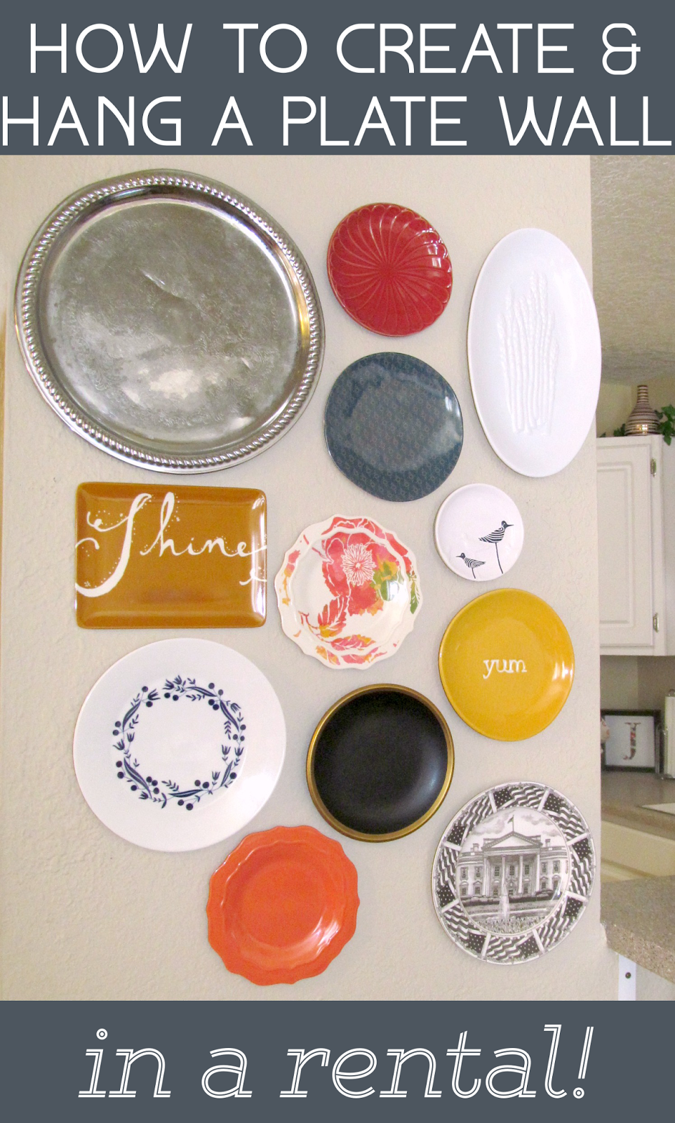 Renting? Then this is a must pin! How to Create & Hang a Plate Wall for a Rental!