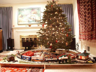 Christmas and model trains 3 trains under the christmas tree