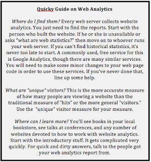 Quicky guide to Web analytics terms.