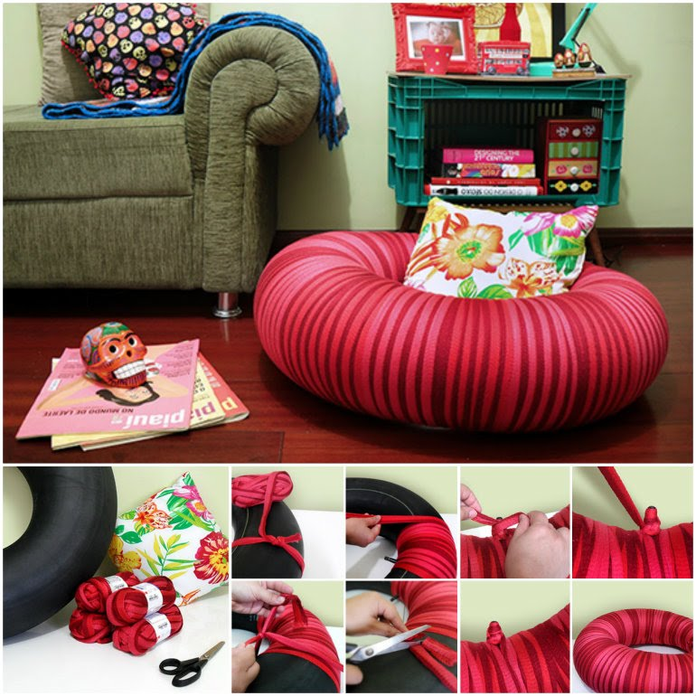 14 diy floor poufs and ottomans diy craft projects for How to make tire furniture