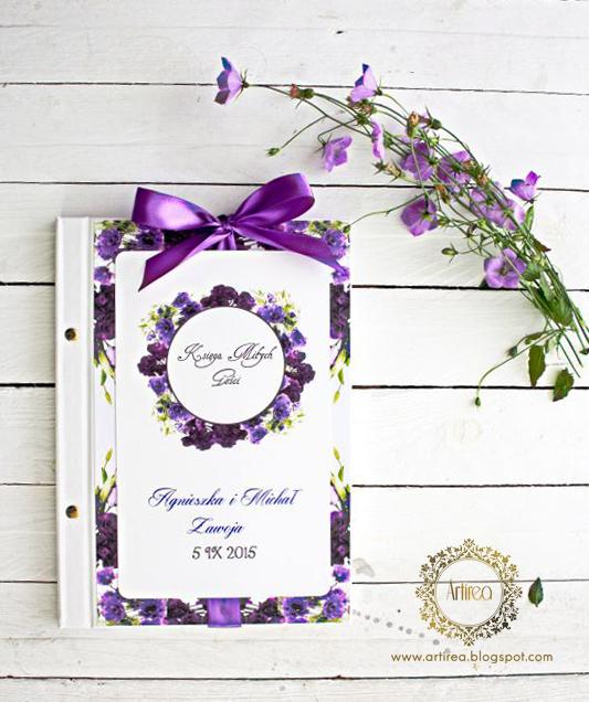 Fioletowa księga gości weselnych artirea