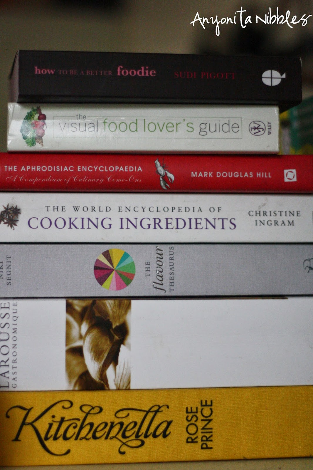 A collection of cookery reference books from Anyonita Nibbles