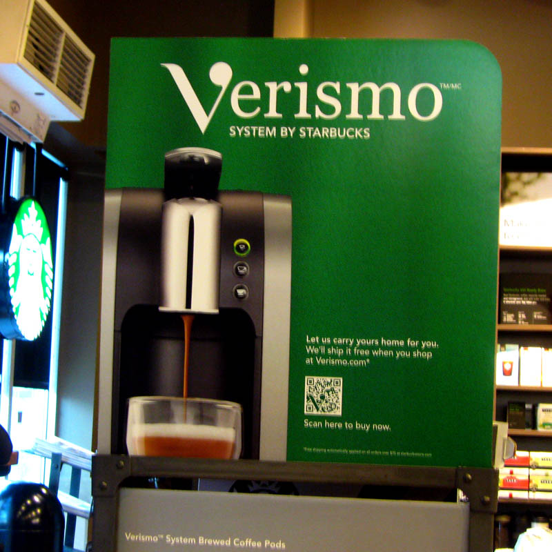 Starbucks' Verismo home coffee brewer sign