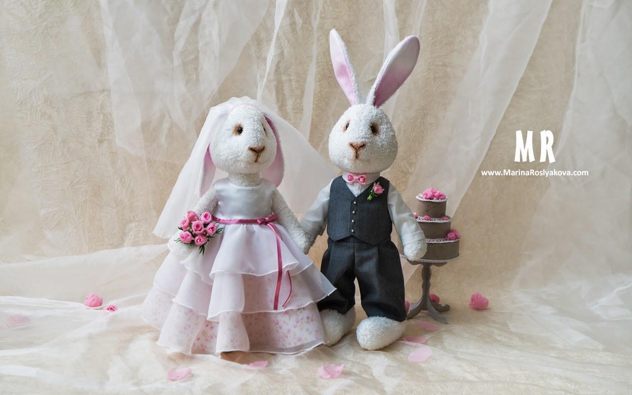 Текстильная Свадебные зайцы. Игрушки ручной работы от Марины Росляковой. Handmade toys. Marina Roslyakova