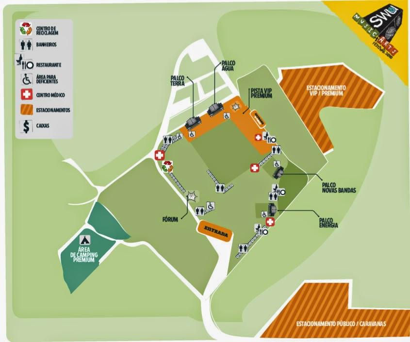 Mapa do Festival SWU de 2010