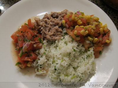 Carnitas, Cilantro Lime Rice, Salsa