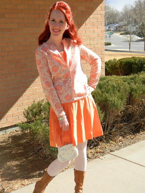 1950s 1960s Jantzen sweater sundress lucite bangle Just Peachy, Darling