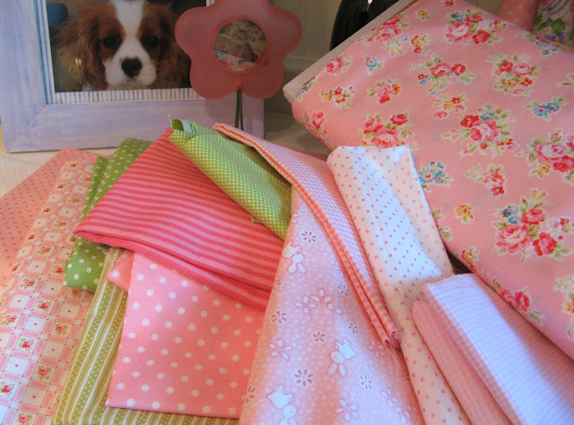 Lakehouse and Lecien fabrics for pink and green quilt