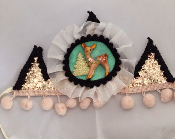 Woodland Deer party crown girls first birthday children's kids pink fawn ruffle hat glitter gold