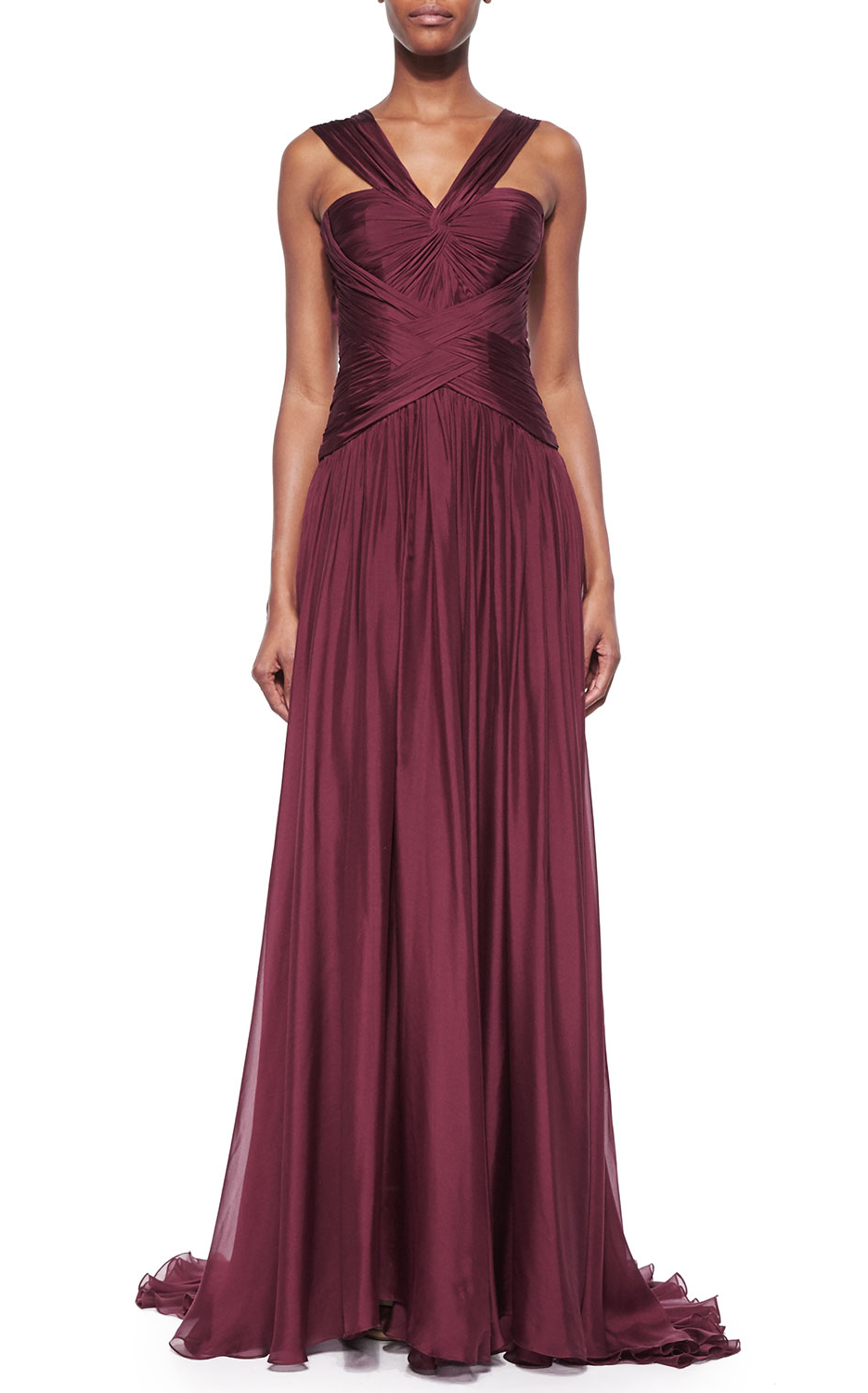 Monique Lhuillier Draped Crisscross Halter Gown