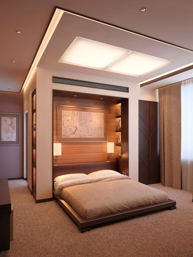 3 false ceiling designs with built in lighting systems for Bedroom ceiling designs