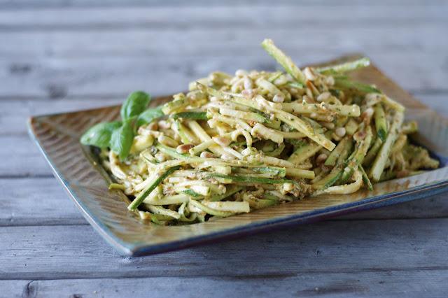 Zucchini Salad with Vegan Sun-Dried Tomato Pesto