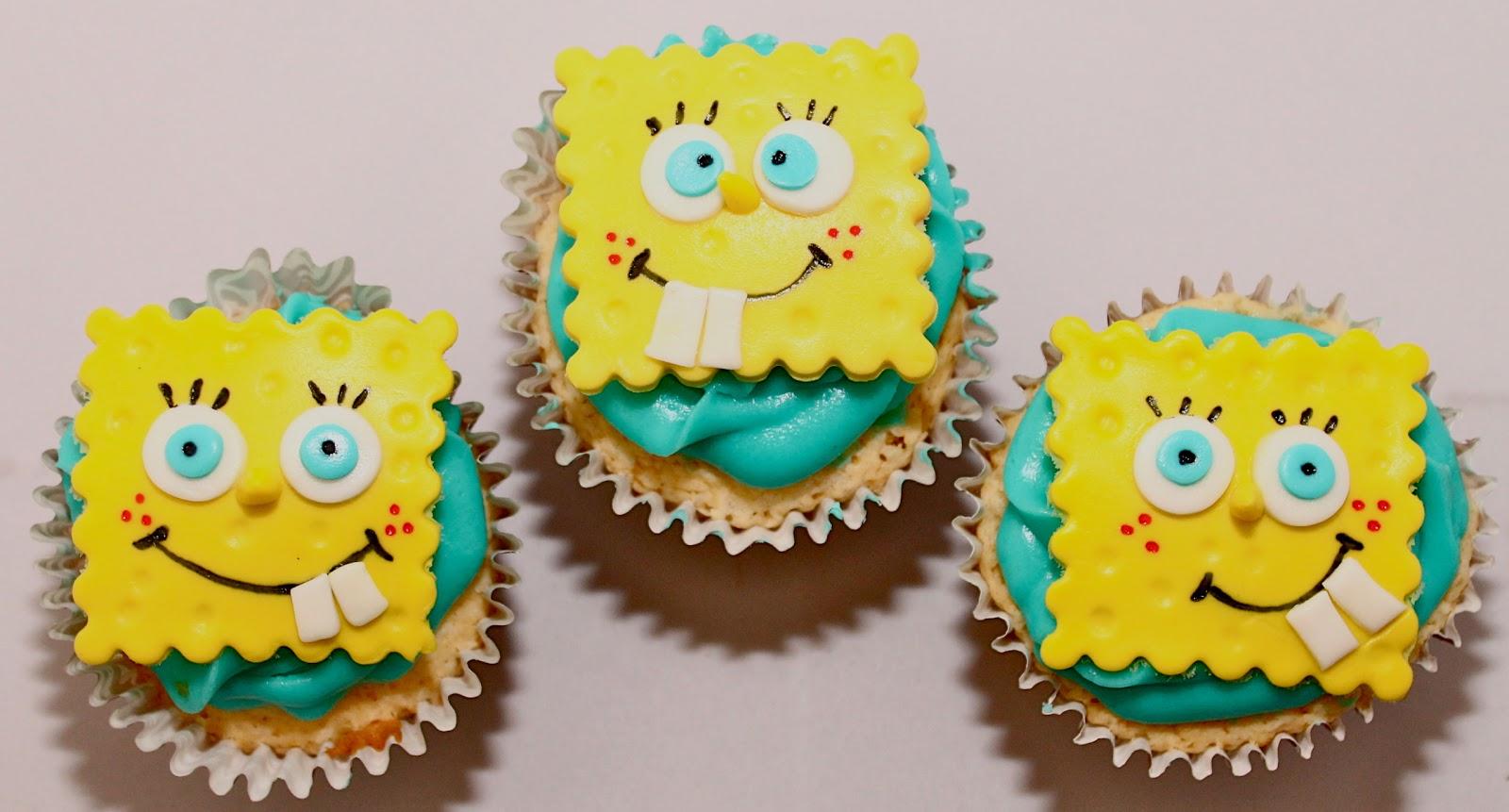 La receta de los cupcakes es la de vainilla y puedes encontrarla aqu - Decoracion bob esponja ...