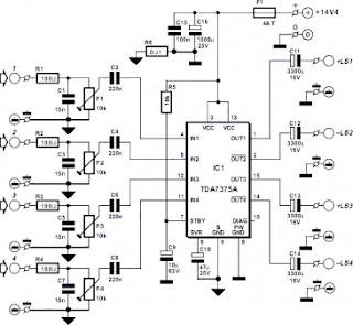 schematic circuit electronics  4 channel amplifier circuit