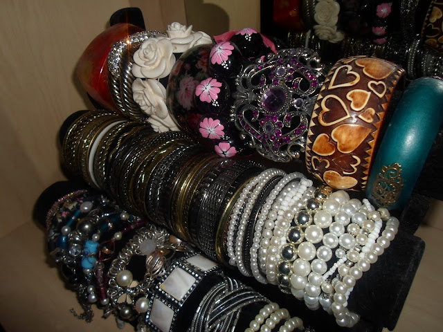 close up of my bracelet collection and storage
