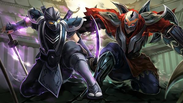 zed vs shen ninja champions league of legends game hd