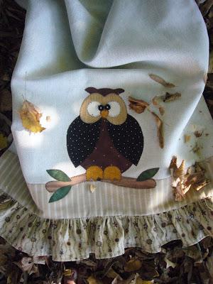 pano de prato de coruja em patchwork