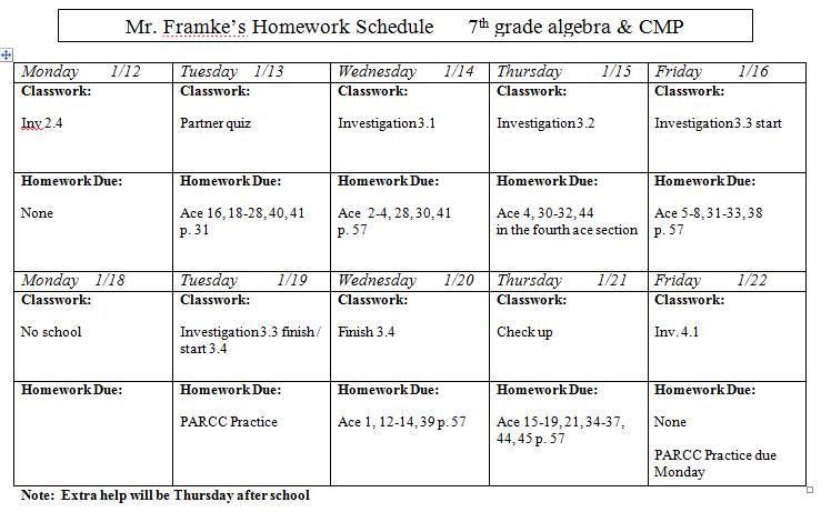 Homework sheets for 7th grade