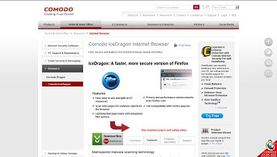 Comodo IceDragon Internet Browser, Web Browser