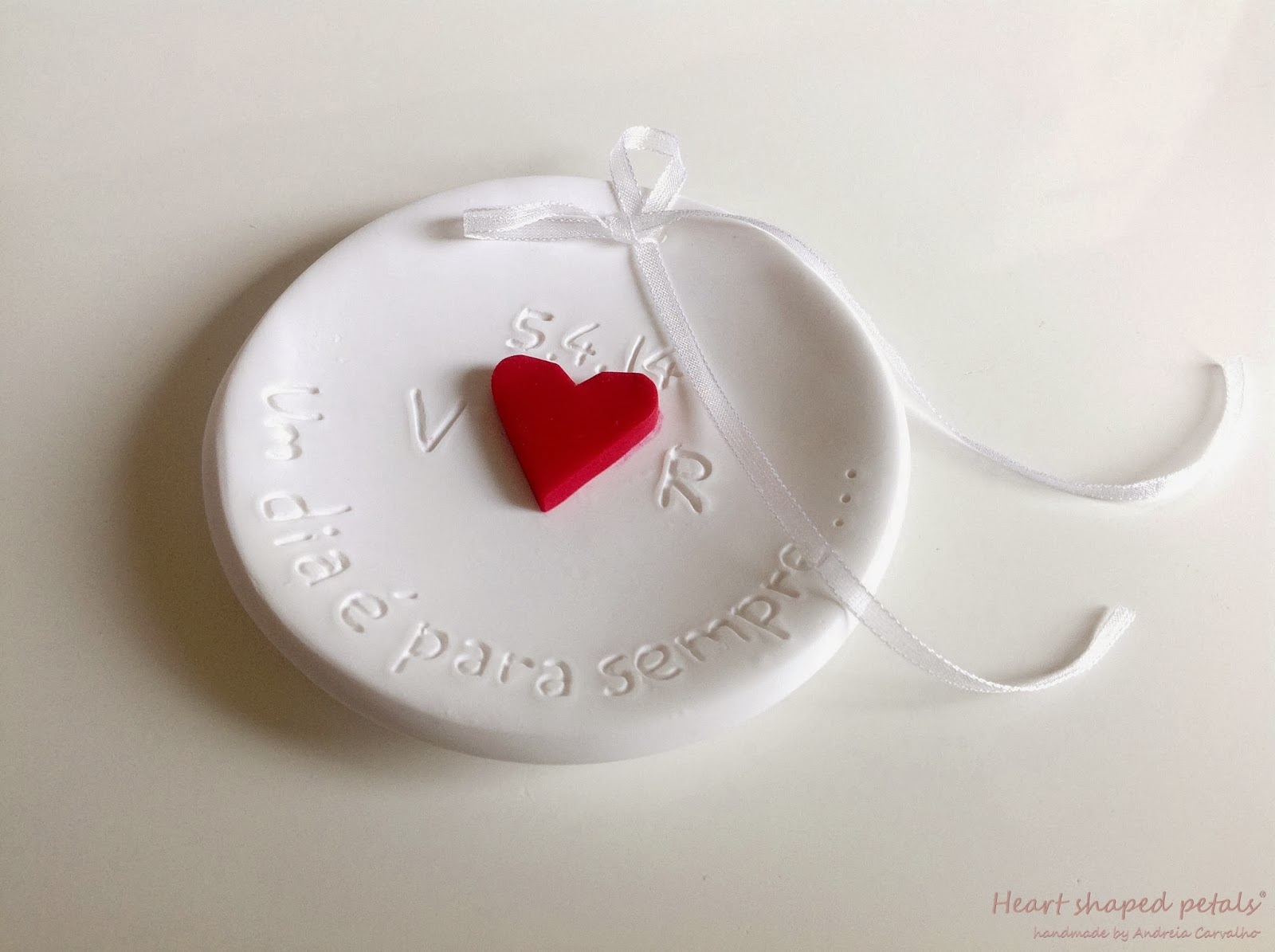 Ring bearer dish heart embossing