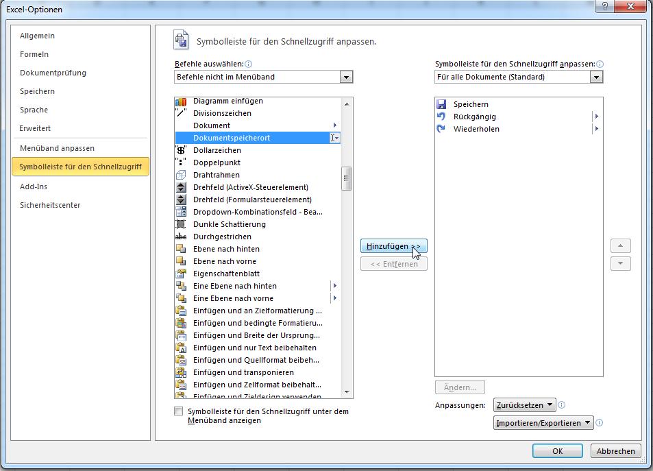 Dateipfad in Excel Schnellstartleiste/Kopfzeile/Titelleiste Office ...