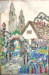 A Darling Embroidered Cottage Garden