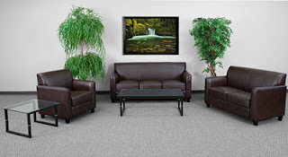 Brown Leather Lounge Furniture Set
