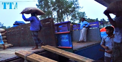 Titas transport vehicle loaded by  Rice  for going to Nepal.