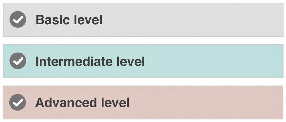 Image result for beginner intermediate advanced levels