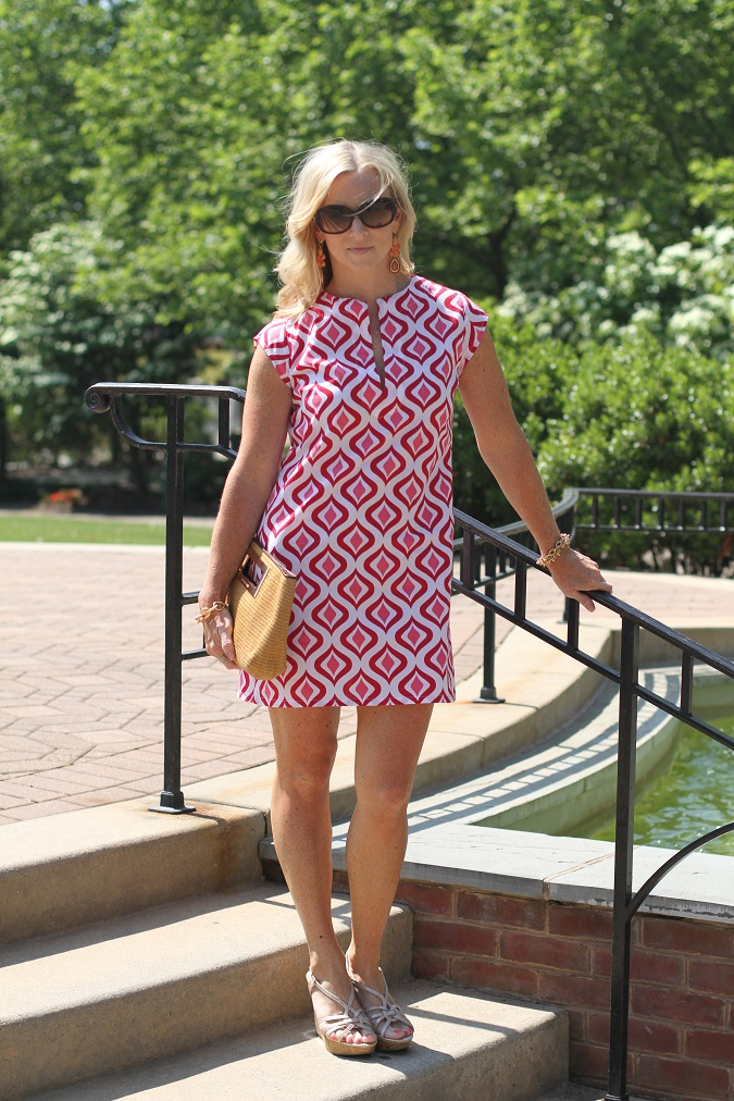 Charles David, loren hope, Prada, shift dress, Stella Dot, straw clutch, three islands, fall fashion