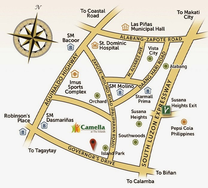 Vicinity Map Location Mara - Camella Belize | Crown Asia Prime House for Sale Dasmarinas Cavite
