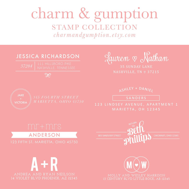 charm & gumption return address stamps