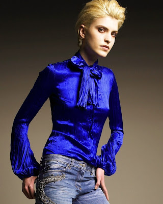 Blue Satin Blouses