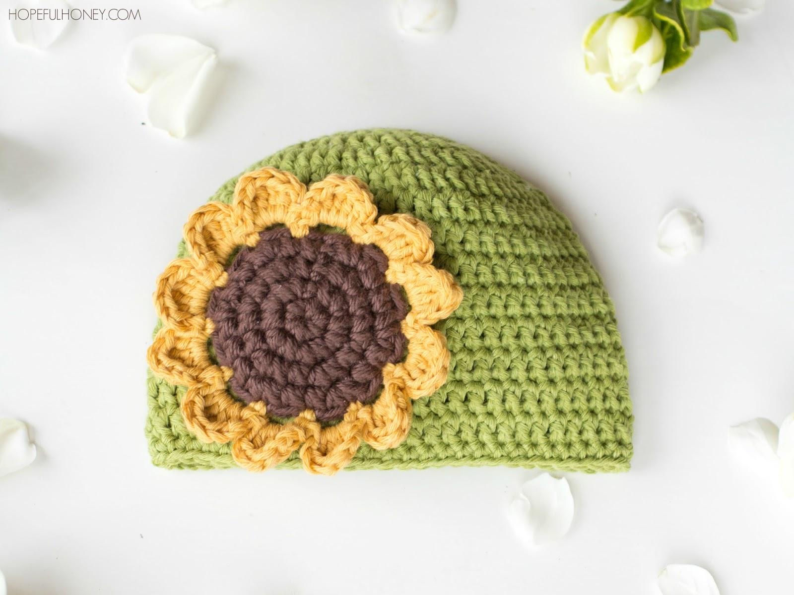 Sunflower Crochet Baby Hat Pattern : Hopeful Honey Craft, Crochet, Create: Sunflower Baby Hat ...