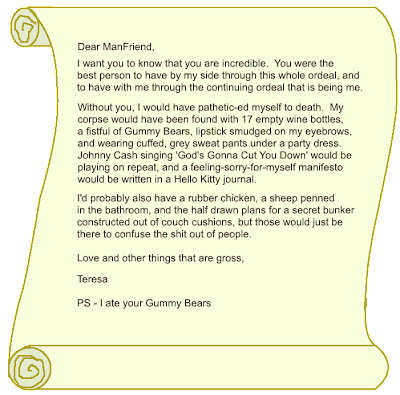 Letter to ManFriend, Thank you letter