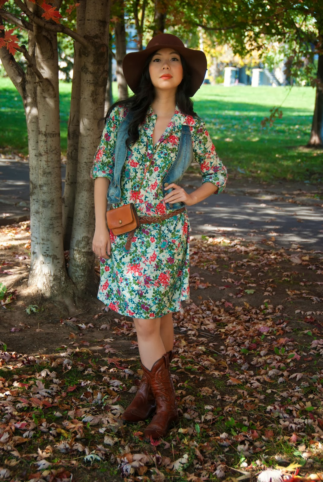 floral shirtdress braided belt leather pouch purse cowboy boots floppy felt hat jean vest denim autumn