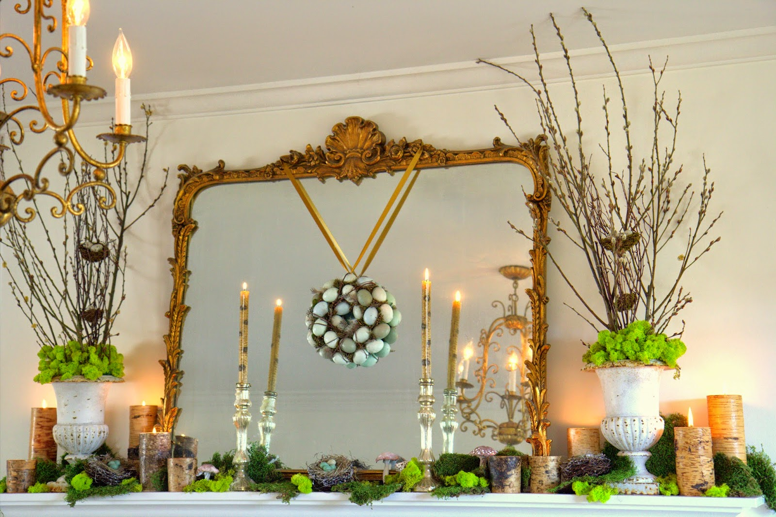 Woodland Party; Living Room mantle and decor, moss, branches, egg wreath: Nora's Nest