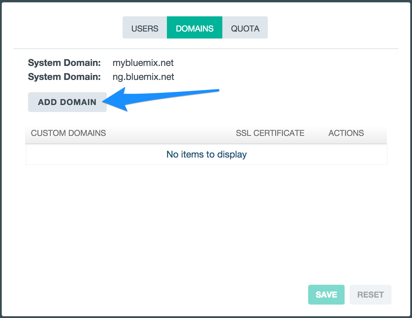 Bluemix UI: Manage Domains