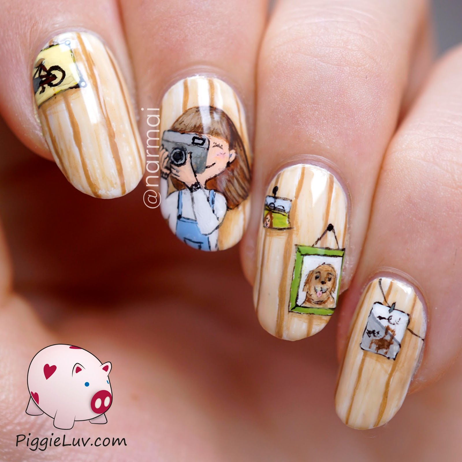 Piggieluv the little photographer nail art i started with opi alpine snow for the base and went from there i only used acrylic paint and my basic one gold brush from christrio scotland prinsesfo Choice Image