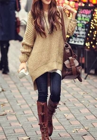Street Style With Long Boots and Over Sized Sweater
